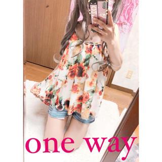 ワンウェイ(one*way)の3936.one way シースルー 花柄 胸元スタッズ キャミソール(キャミソール)
