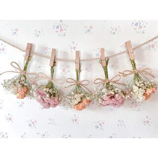 バラとかすみ草のくすみオレンジピンクドライフラワーガーランド♡スワッグミニブーケ(ドライフラワー)