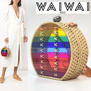 ドゥロワー(Drawer)の【近年物 美品】WAIWAI ワイワイ ストローバック カゴバック(かごバッグ/ストローバッグ)