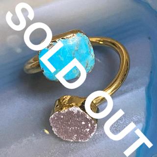 ビームス(BEAMS)のK18GP 天然石 リング 指輪 ターコイズ&ドゥルージー T(リング(指輪))