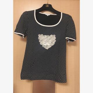 トゥービーシック(TO BE CHIC)のTO BE CHIC トゥービーシック ドット カットソー Tシャツ 黒白 2(カットソー(半袖/袖なし))