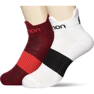 サロモン(SALOMON)の①SALOMON サロモン トレイルランニングソックス白&赤 センス2パックS(ウェア)