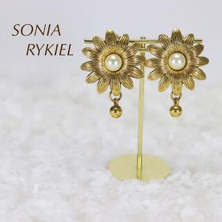 ソニアリキエル(SONIA RYKIEL)のSONIA RYKIEL ソニアリキエル ヴィンテージイヤリング お花 パール(イヤリング)