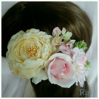 専用ナチュラルラナンキュラス、ピンク薔薇、淡いピンクダリア、紫陽花の髪飾り(ヘアピン)