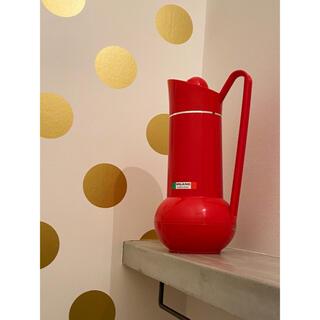 JAPAN ビンテージ アンティーク ポット 魔法瓶 赤 レッド(水筒)