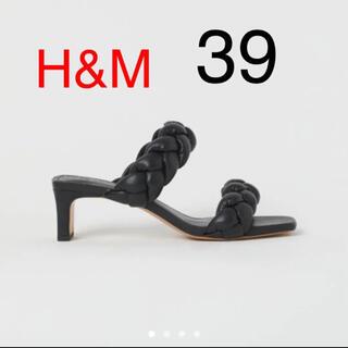 エイチアンドエム(H&M)のミュールサンダル ブラック39(ミュール)