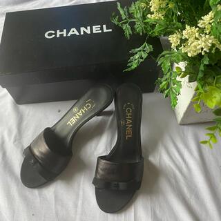 CHANEL - シャネル CHANEL 黒ココマークリボン付きミュール サンダル 36