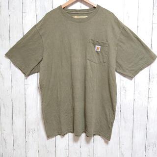 カーハート(carhartt)の美品 carhartt Tシャツ カーキ ビックサイズ ワンポイントロゴ(Tシャツ/カットソー(半袖/袖なし))