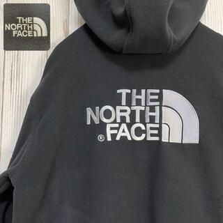 ザノースフェイス(THE NORTH FACE)の《ビッグ刺繍ロゴ》ノースフェイス フリースフルジップジャケット S ブラック 黒(パーカー)