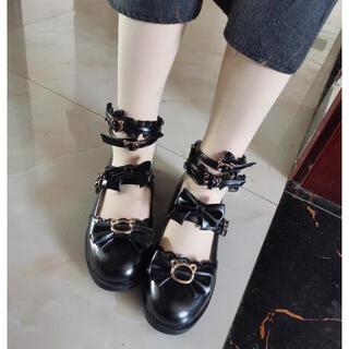 ロリータ  ゴスロリ 森ガール 猫金具可愛い光沢アングルストラップリボン靴(衣装一式)
