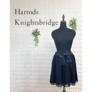 ハロッズ(Harrods)の468 未使用 ハロッズ シフォン フレアスカート 黒 ブラック パーティー(ひざ丈スカート)