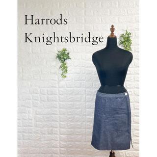 ハロッズ(Harrods)の470 ハロッズ デニム タイトスカート L インディゴブルー 日本製(ひざ丈スカート)