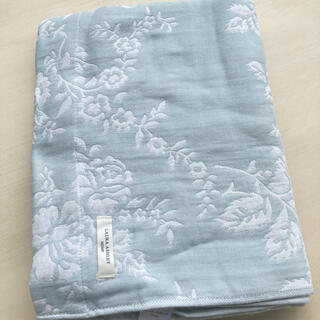 ローラアシュレイ(LAURA ASHLEY)の[ハーフサイズ]ジャカード織りタオルケット ダックエッグカラー(毛布)