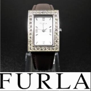 フルラ(Furla)の【稼働品】 FURLA ストーンベゼル レディース腕時計 電池、ベルト交換済(腕時計)