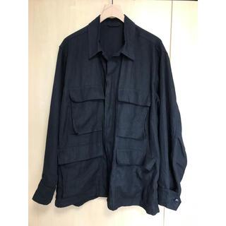 コモリ(COMOLI)のcomoli 20ss リネン B.D.U ジャケット black サイズ2(ミリタリージャケット)