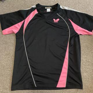 バタフライ(BUTTERFLY)の卓球 バタフライ 黒ピンク Tシャツ(卓球)
