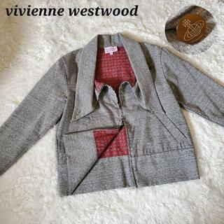 ヴィヴィアンウエストウッド(Vivienne Westwood)のヴィヴィアンウエストウッド 変形襟 スウェット ジャケット ダブルファスナー(トレーナー/スウェット)