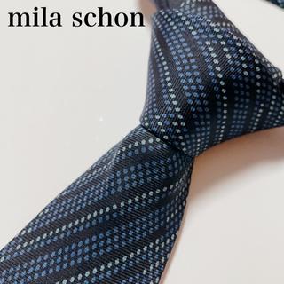ミラショーン(mila schon)の極美品 ミラ ショーン ネクタイ ハイブランド ストライプ柄 ビジネス(ネクタイ)
