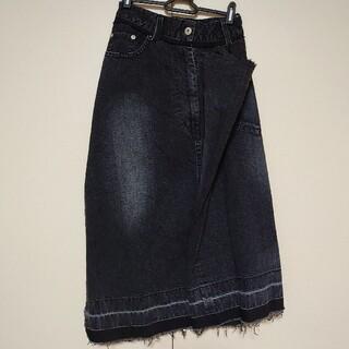 サカイ(sacai)のsacai サカイ ブラック アシンメトリー デニムスカート 新品タグ付き(ロングスカート)