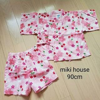 ミキハウス(mikihouse)の【美品】ミキハウス さくらんぼ柄甚平90cm(甚平/浴衣)