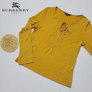 バーバリー(BURBERRY)のBURBERRY バーバリー ロンドン カットソー リボン テンセル 辛子色(カットソー(長袖/七分))