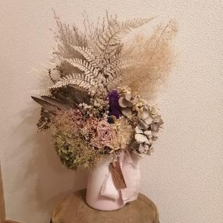 花瓶付きです♪お花モリモリ大きなアンティークドライフラワースワッグ ラクマパック(ドライフラワー)