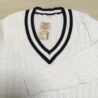 ムジルシリョウヒン(MUJI (無印良品))のケーブル柄ライン入セーター(ニット/セーター)