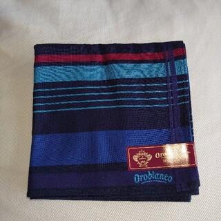 オロビアンコ(Orobianco)のOrobiancoハンカチ  紺 綿100% 未使用(ハンカチ/ポケットチーフ)