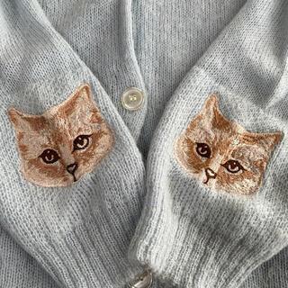 キャンディストリッパー 猫刺繍 モヘアカーディガン ブルー
