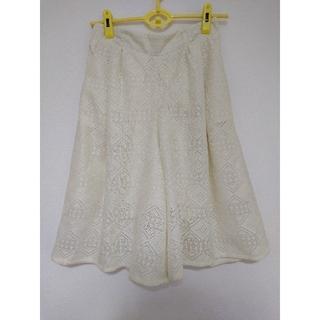 イーハイフンワールドギャラリー(E hyphen world gallery)のレディース スカート キュロット 白 ホワイト フリーサイズ レース 服 パンツ(キュロット)