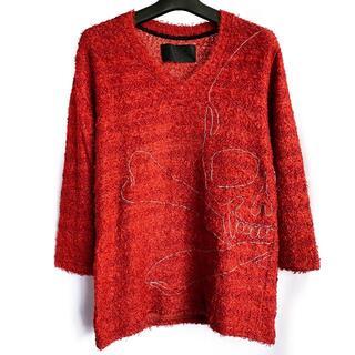 ロエン(Roen)の定価3.3万★Roen チェーン刺繍スカル 起毛素材ニット カットソー 46(ニット/セーター)