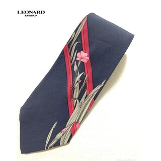【送料無料】レオナール シルク ネクタイ ネイビー LEONARD/花柄