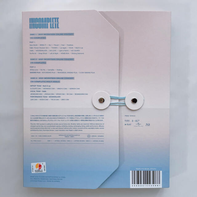SEVENTEEN(セブンティーン)のINCOMPLETE Blu-ray  日本語字幕付き エンタメ/ホビーのDVD/ブルーレイ(アイドル)の商品写真