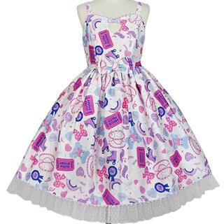 アンジェリックプリティー(Angelic Pretty)のGirly Stickerジャンパースカート シロ(ひざ丈ワンピース)