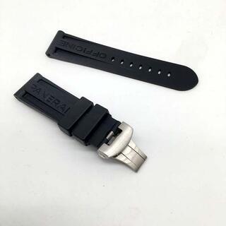 オフィチーネパネライ(OFFICINE PANERAI)の送料無料交換用時計ラバーベルトパネライ互換品ラグ幅24mm D黒(ラバーベルト)