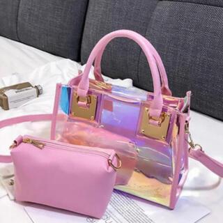 (ピンク)クリアバッグ オーロラ ポーチ付き ショルダーバッグ トートバッグ (ショルダーバッグ)