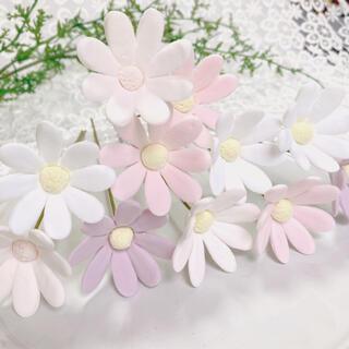 小花 大 ピンク ホワイト 11本セット クレイフラワー 造花 花(その他)