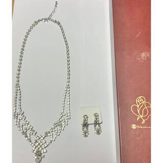 タカシマヤ(髙島屋)のネックレス イヤリング 高島屋 ストーン 美品 アクセサリー キラキラ シルバー(ネックレス)
