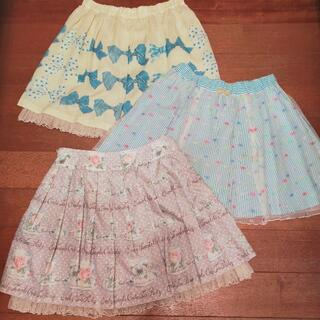 エミリーテンプルキュート(Emily Temple cute)のエミキュの春夏スカートまとめ売り リボン ティーカップ ストライプ チュール(ミニスカート)