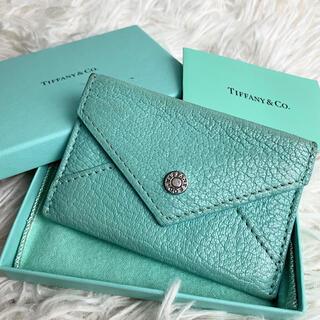 Tiffany & Co. - 【美品】ティファニー レター カードケース 名刺入れ ライトブルー レザー