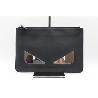 フェンディ(FENDI)のFENDI クラッチバッグ バグズ モンスター AB 美品 ブラック シルバー(セカンドバッグ/クラッチバッグ)