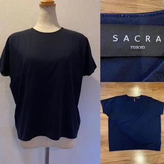 サクラ(SACRA)のSACRA サクラ ネイビー デザインカットソー コットン✖️ナイロン(カットソー(半袖/袖なし))