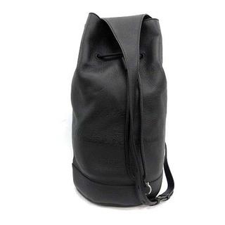 サルヴァトーレフェラガモ(Salvatore Ferragamo)のサルヴァトーレフェラガモ ワンショルダーバッグ 巾着型 ロゴ レザー 黒(ショルダーバッグ)