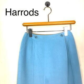 ハロッズ(Harrods)のB386 Harrodsハロッズ 膝丈巻きスカート リバーシブル ブルー系(ひざ丈スカート)