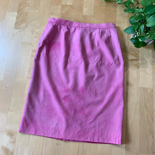 レオナール(LEONARD)のLEONARD レオナール ウールピンクタイトスカート(ひざ丈スカート)