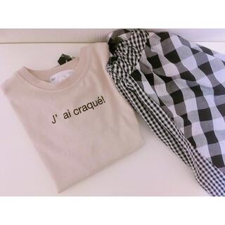 シマムラ(しまむら)のナチュラル♡シンプルロゴTシャツ+ギンガムチェックスカート 上下セット110cm(その他)