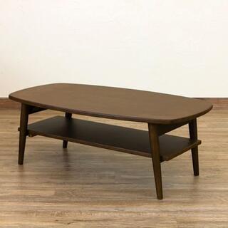 棚付き木製折れ脚ローテーブル 幅90cm ダークブラウン(ローテーブル)