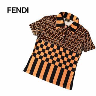 フェンディ(FENDI)のフェンディ FENDI  ズッカ柄 ポロシャツ 半袖 44 ビンテージ 希少(ポロシャツ)