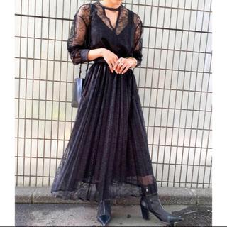 アメリヴィンテージ(Ameri VINTAGE)のAmeri vintage LADY LACE PLEATS DRESS  (ロングドレス)