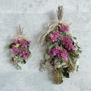 2点セット*ピンク系 スワッグ ブーケ ブートニア*ドライフラワー 壁掛け 花材(ドライフラワー)